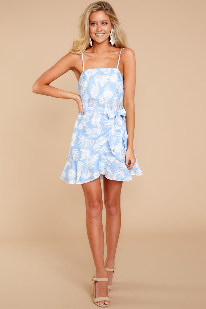 3 All That's Left Light Blue Tropical Print Dress at reddressboutique.com