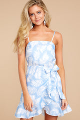 4 All That's Left Light Blue Tropical Print Dress at reddressboutique.com