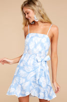 Self Tie Wrap Summer Polyester Straight Neck Tropical Print Beach Dress With Ruffles