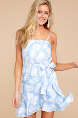 1 All That's Left Light Blue Tropical Print Dress at reddressboutique.com