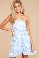 6 All That's Left Light Blue Tropical Print Dress at reddressboutique.com