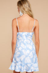 7 All That's Left Light Blue Tropical Print Dress at reddressboutique.com