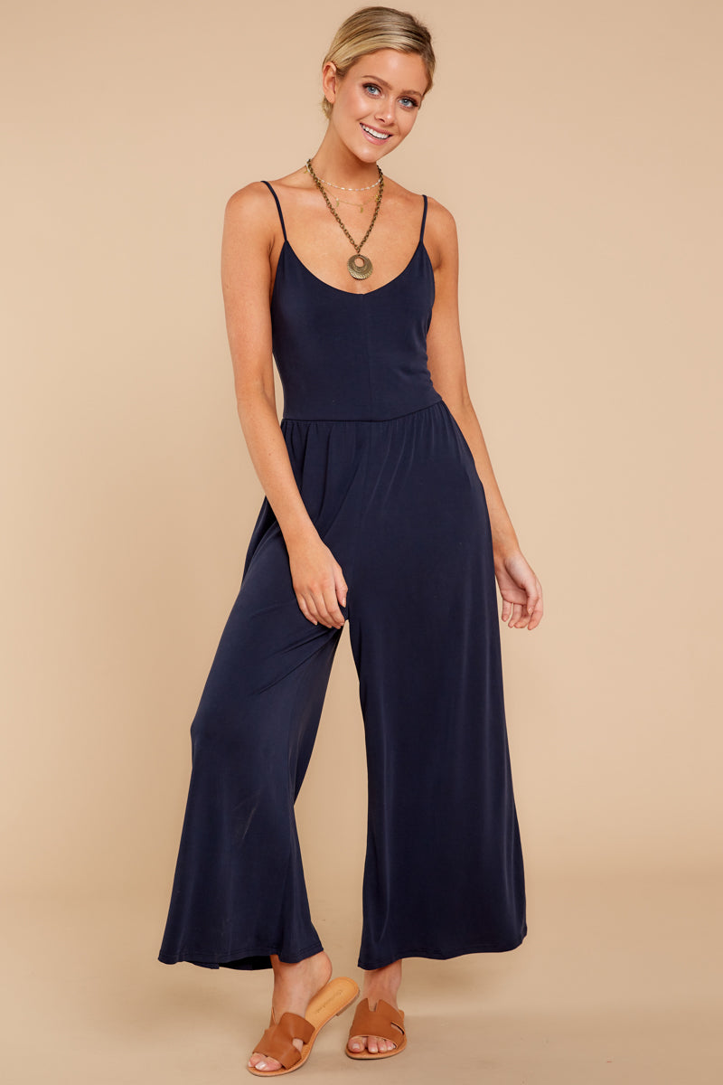 4 Wanna Be There Navy Jumpsuit at reddressboutique.com