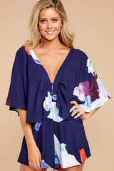 6 Can't Forget This Navy Floral Print Romper at reddressboutique.com