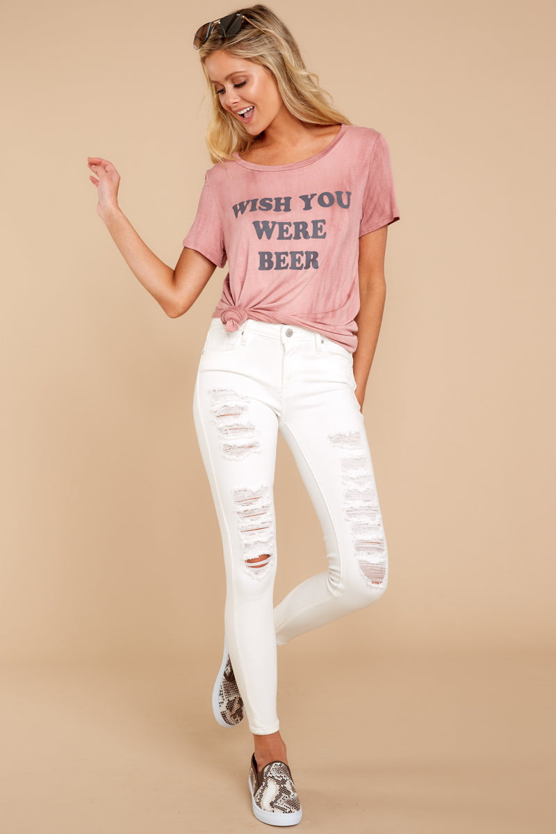 88182d7a Trendy Wish You Were Beer Pink Graphic Tee - Cute Graphic Tee - Tee ...
