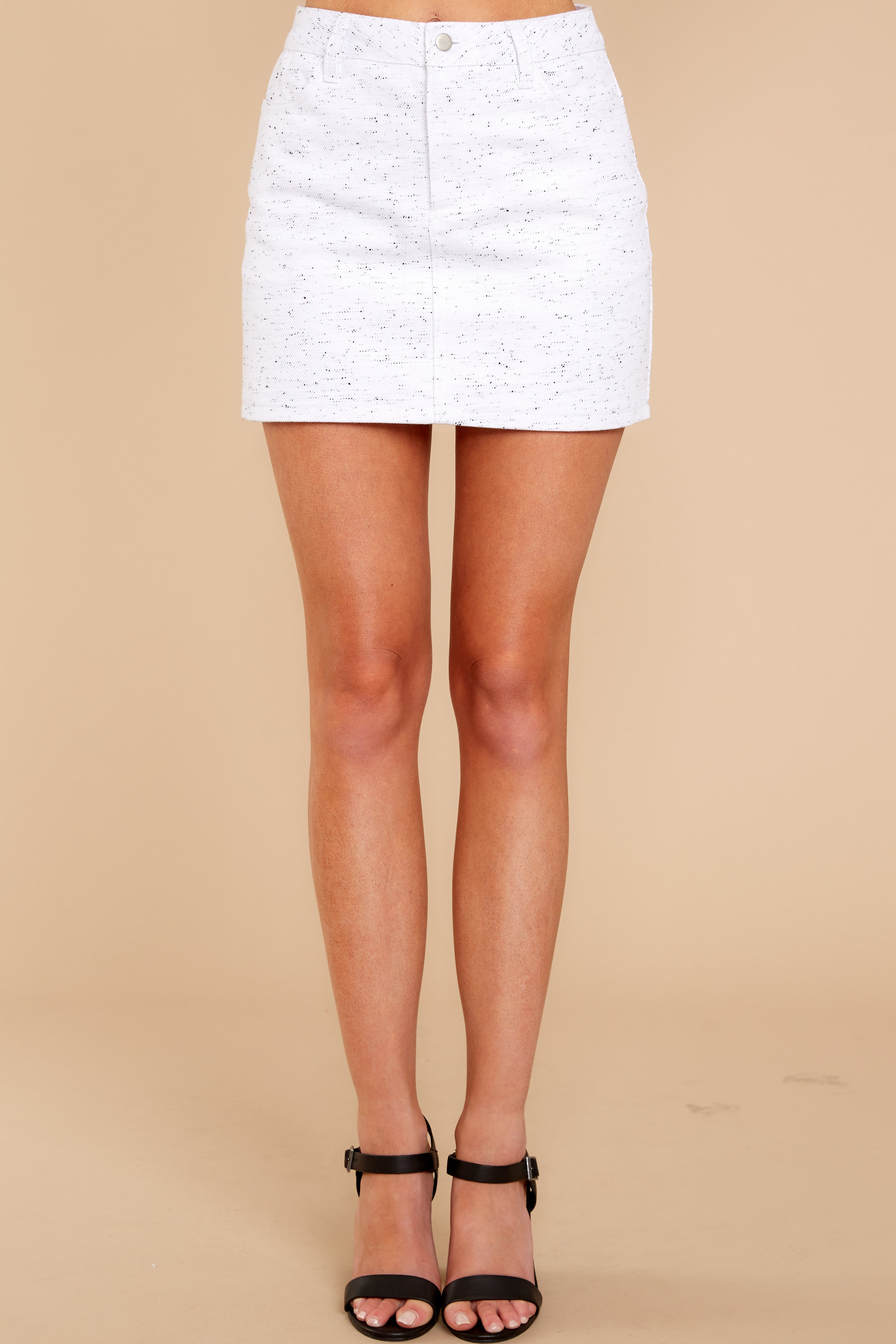 3 In Search Of You White Print Skirt at reddressboutique.com