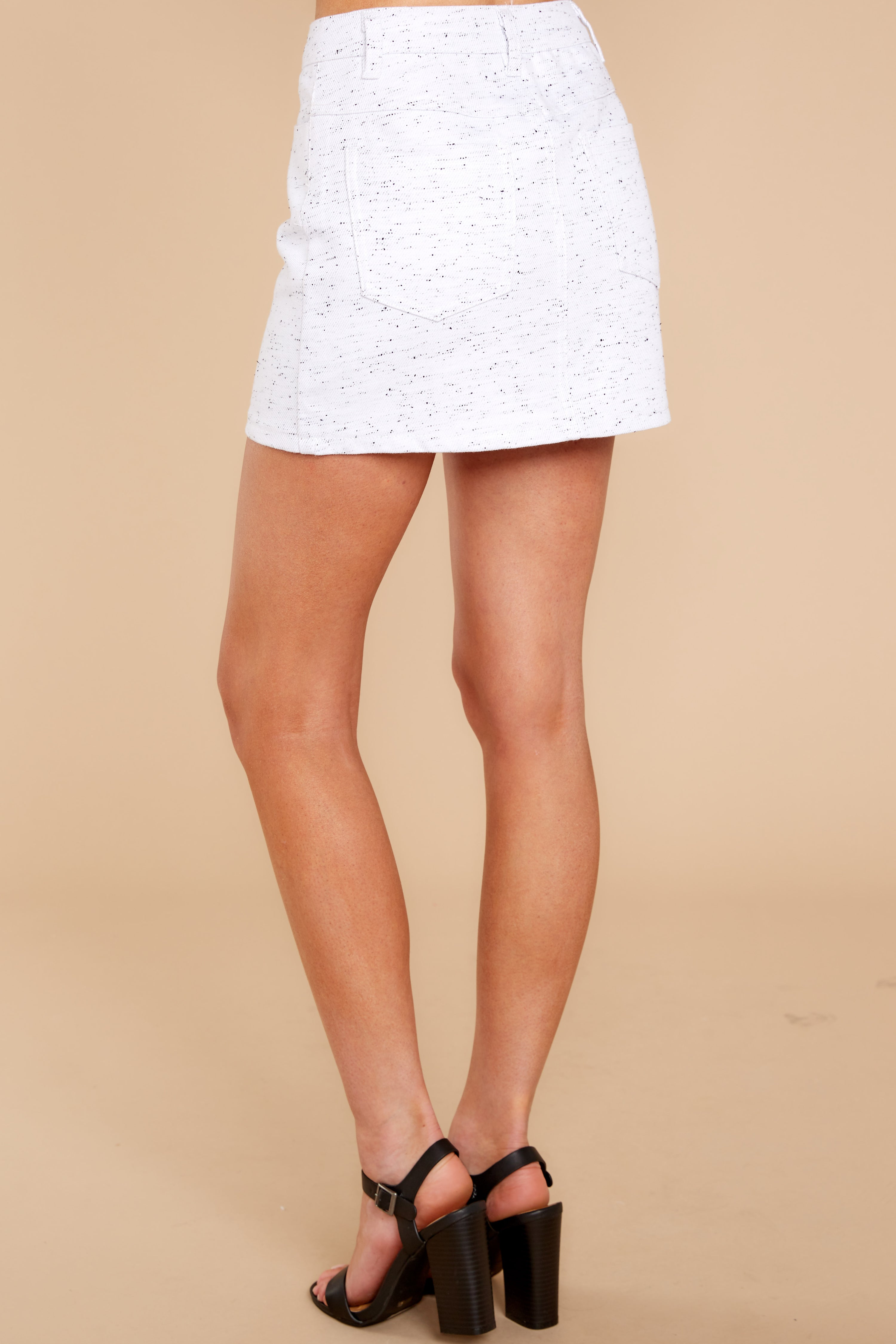 4 In Search Of You White Print Skirt at reddressboutique.com