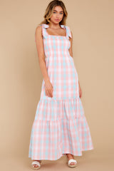 Fade Into You Pink Multi Gingham Maxi Dress