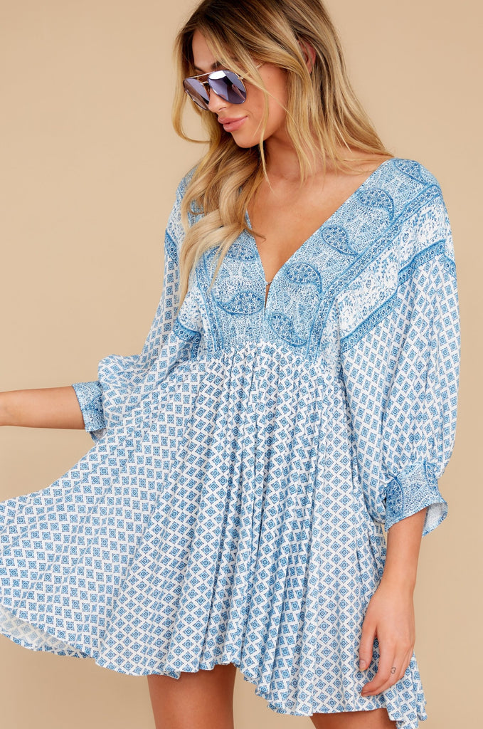 1 Make It A Date Night Light Blue Floral Print Dress at reddress.com