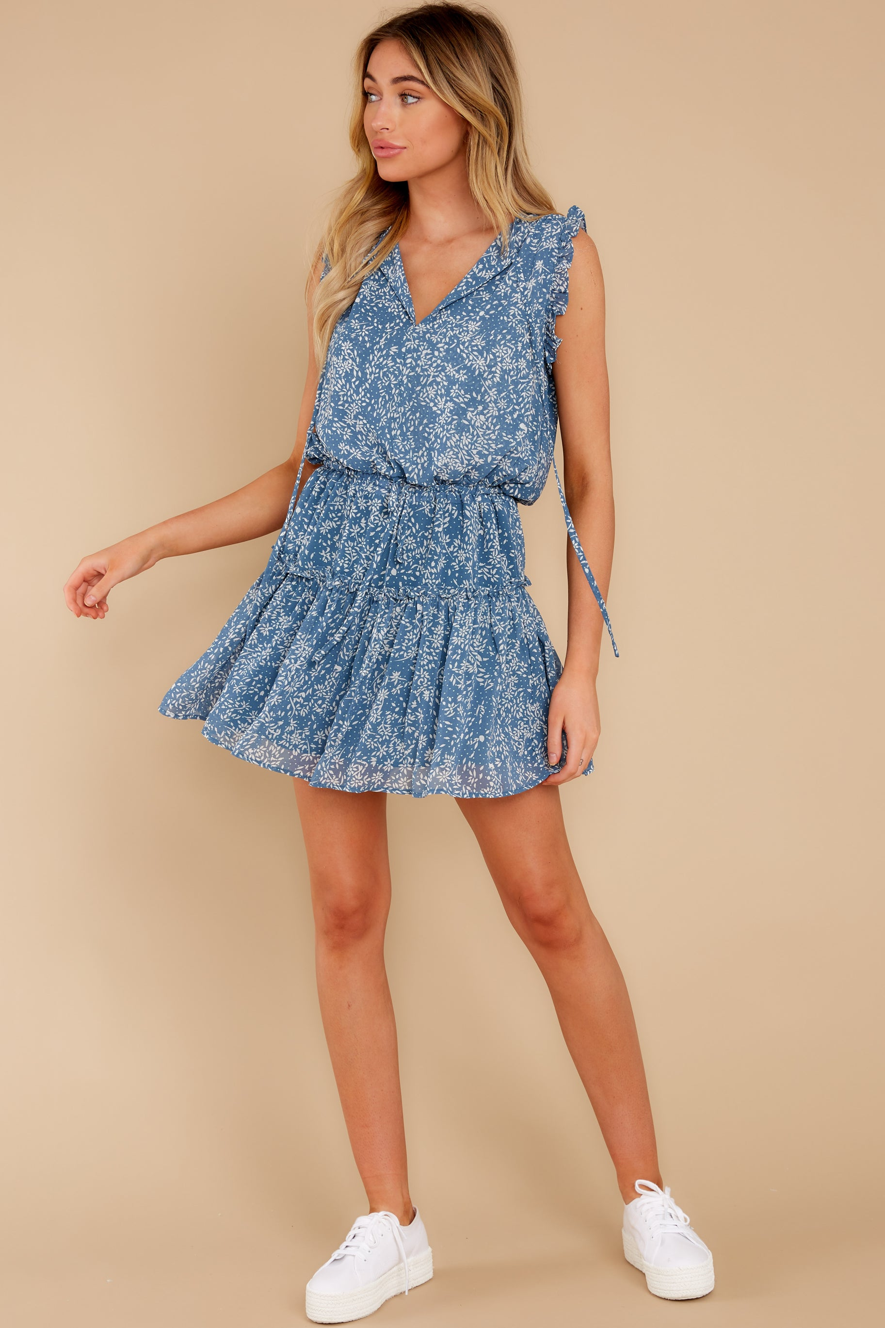 Dialed In Dusty Blue Print Dress