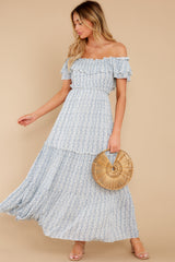 5 Sunsets With You Blue Print Maxi Dress at reddress.com