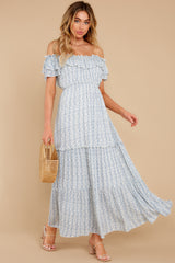 3 Sunsets With You Blue Print Maxi Dress at reddress.com