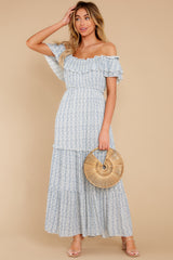 4 Sunsets With You Blue Print Maxi Dress at reddress.com