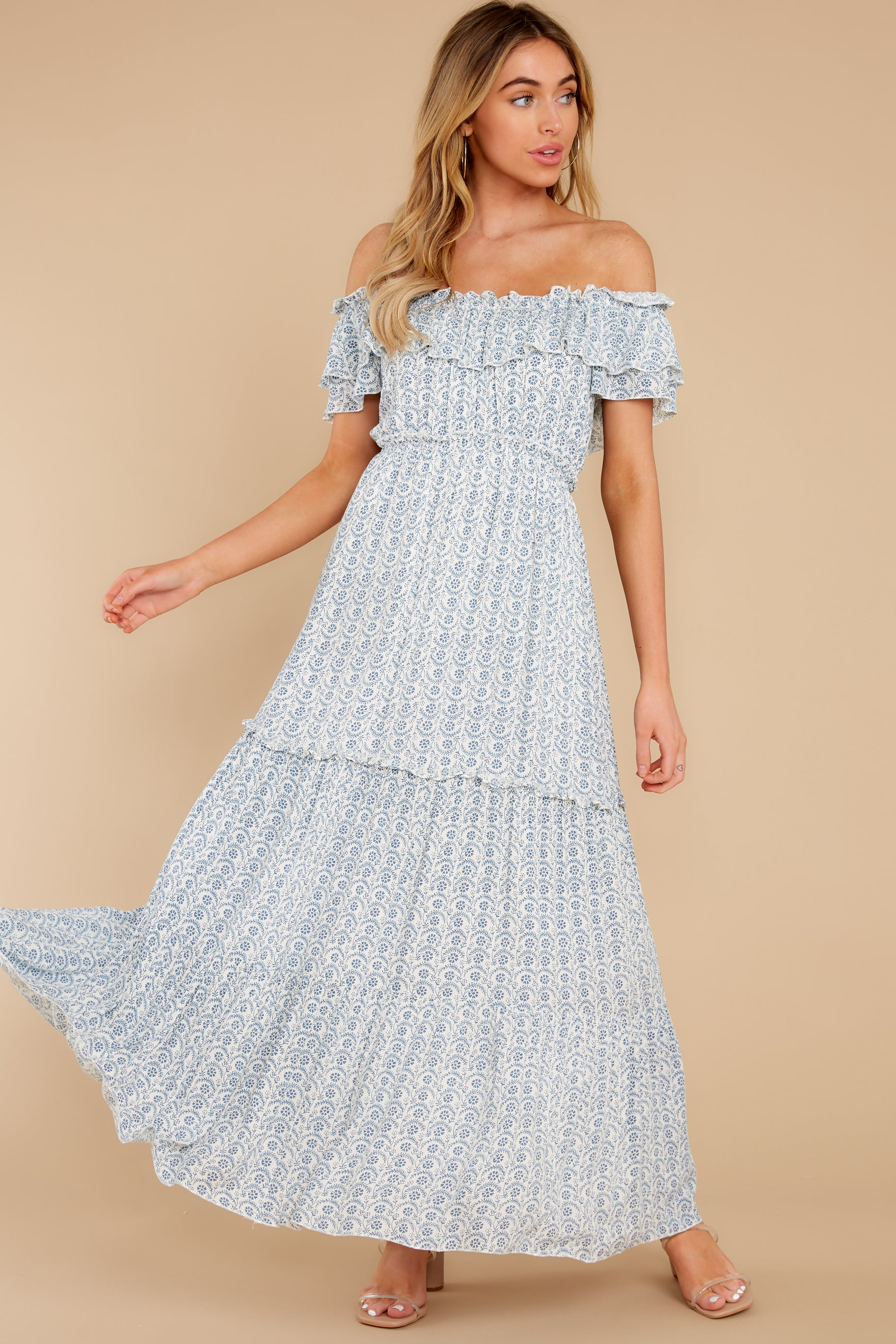 1980s Clothing, Fashion | 80s Style Clothes Sunsets With You Light Blue Print Maxi Dress $54.00 AT vintagedancer.com