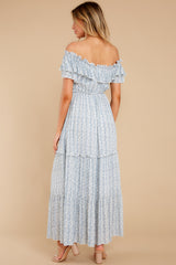 7 Sunsets With You Blue Print Maxi Dress at reddress.com