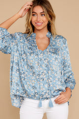 5 Little Cutie Light Blue Floral Print Top at reddress.com