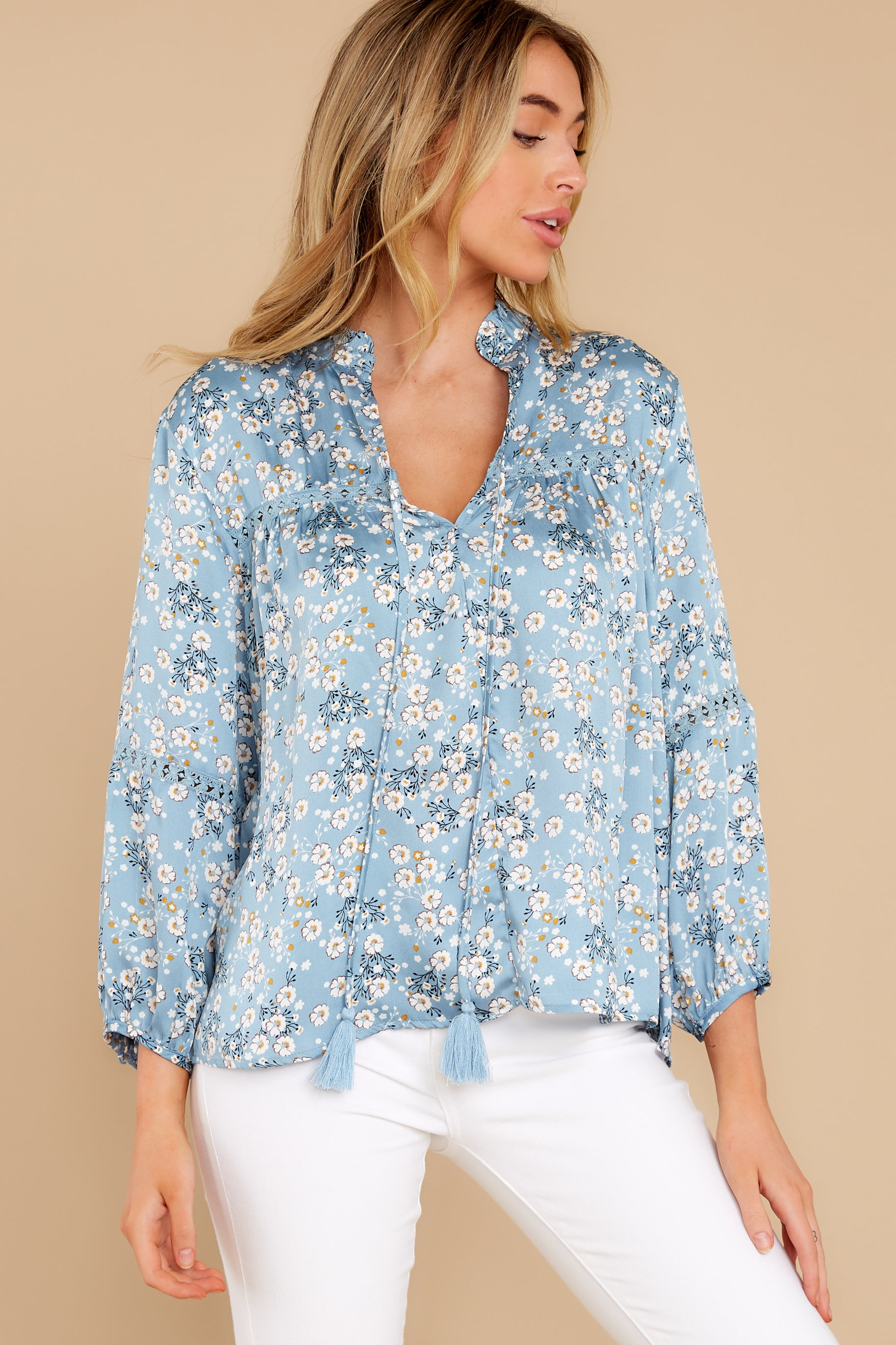 6 Little Cutie Light Blue Floral Print Top at reddress.com