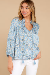 2 Little Cutie Light Blue Floral Print Top at reddress.com