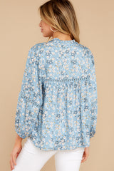 7 Little Cutie Light Blue Floral Print Top at reddress.com