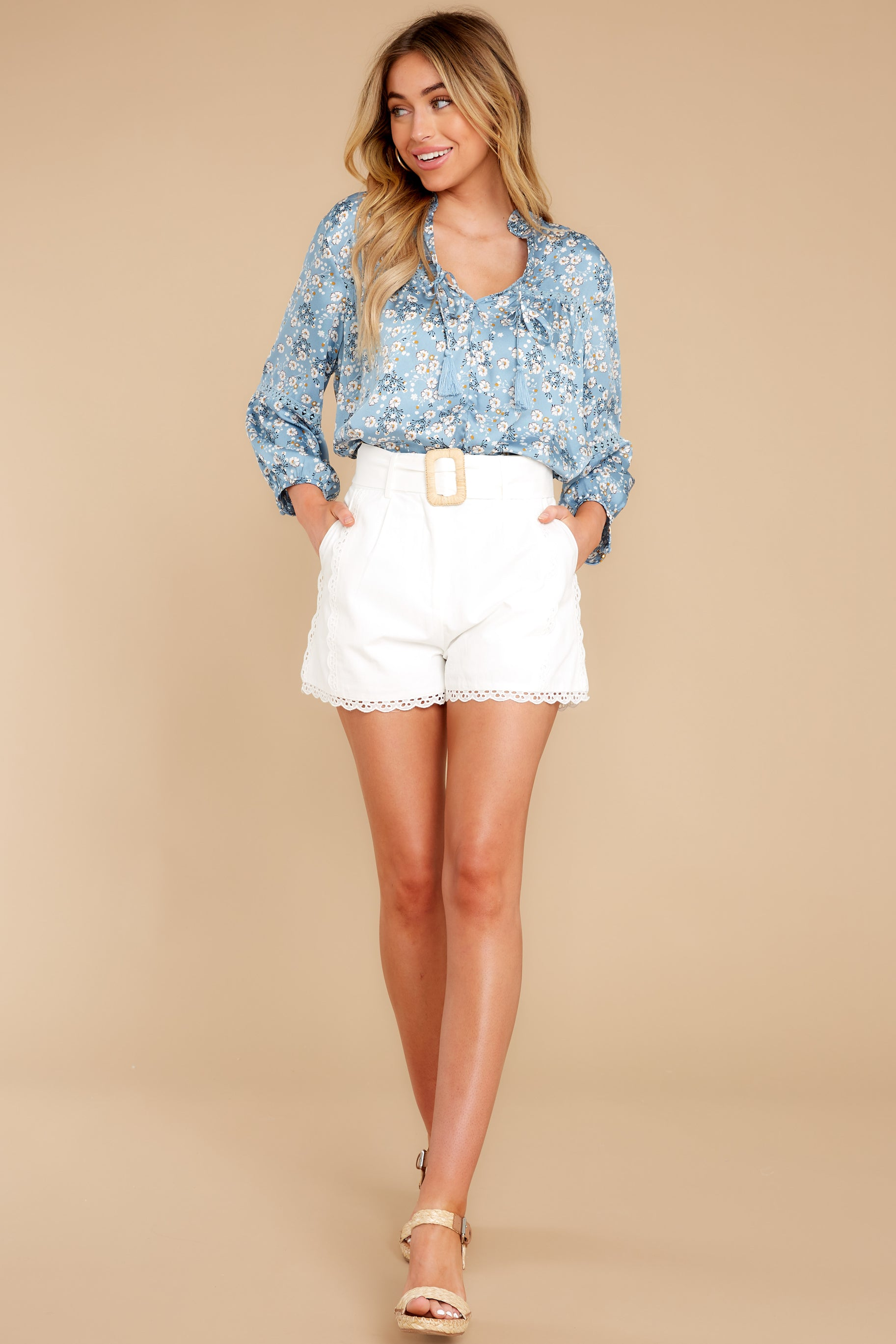 3 Little Cutie Light Blue Floral Print Top at reddress.com