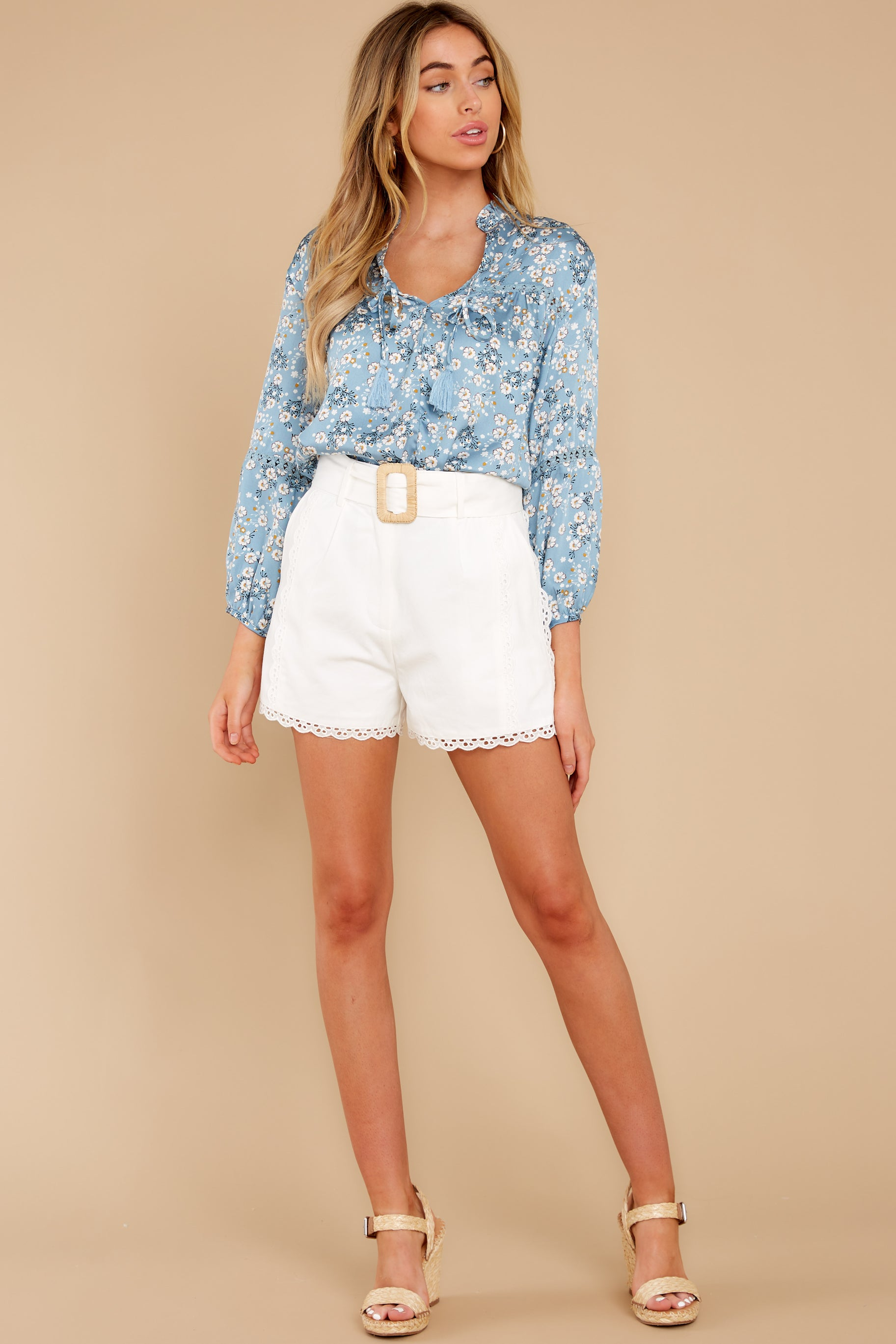 4 Little Cutie Light Blue Floral Print Top at reddress.com