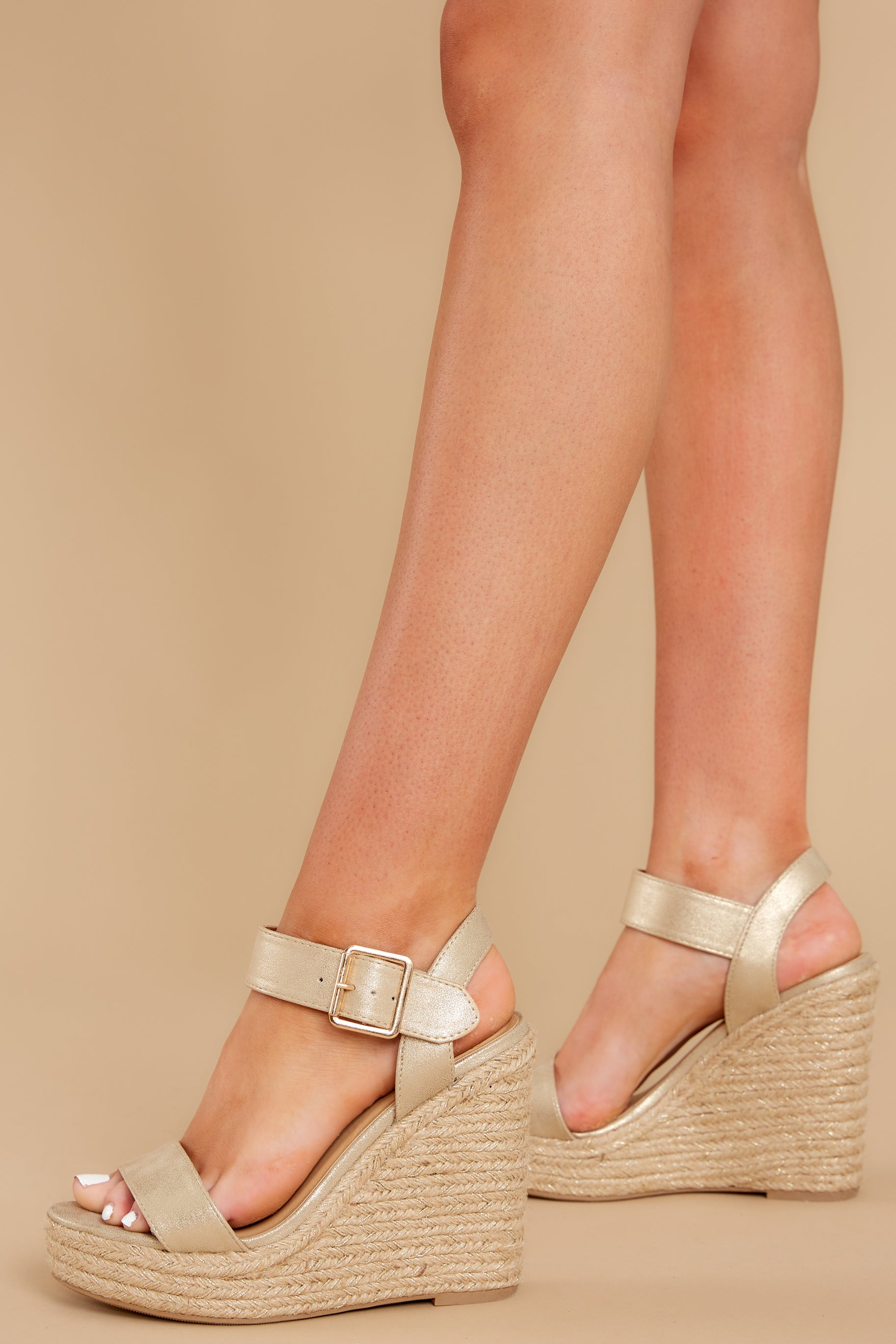 1 Teetering In The Unknown Gold Platform Wedges at reddress.com