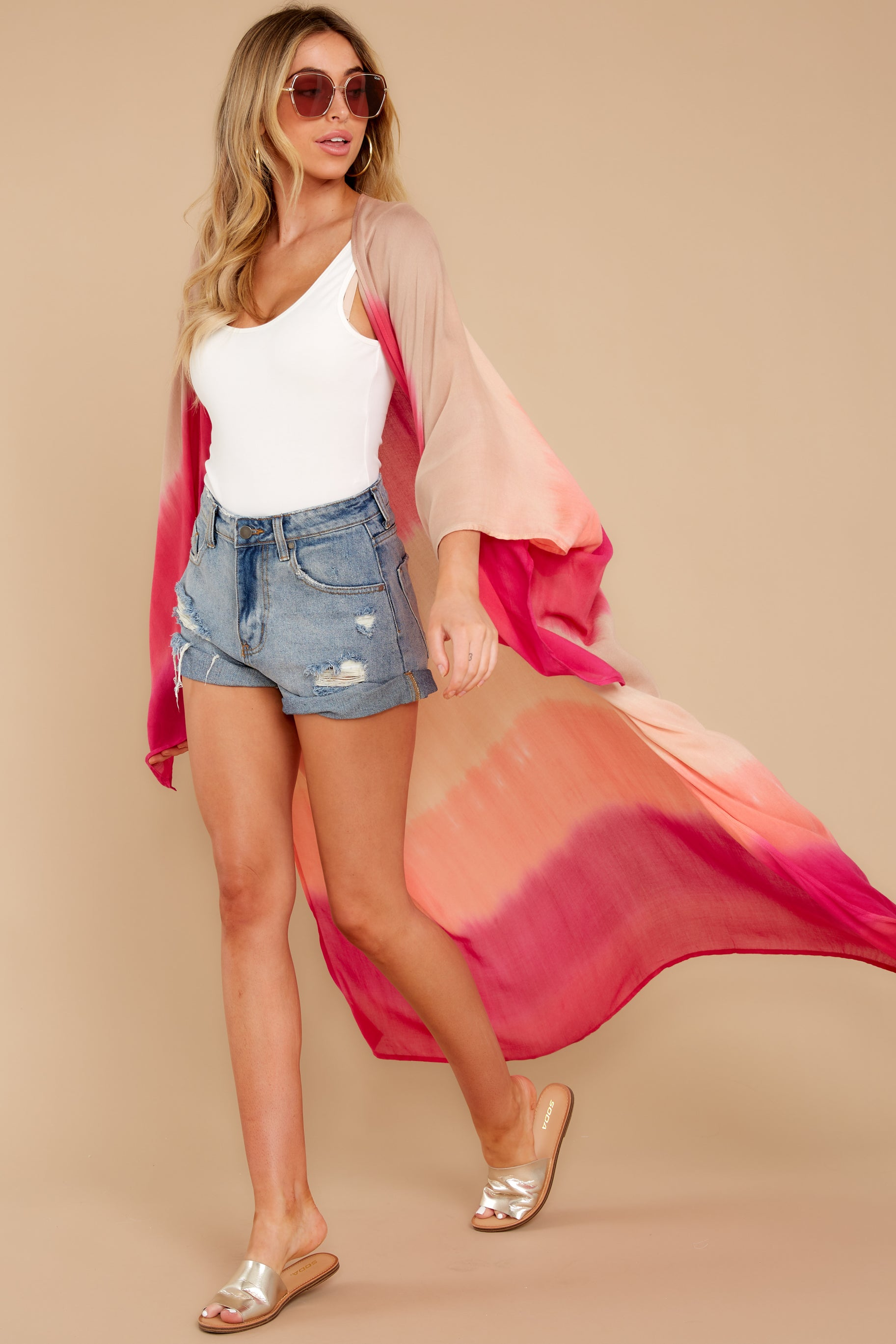 See The Good Pink Multi Tie Dye Kimono (BACKORDER JUNE)