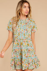 Cheery Disposition Sage Green Floral Print Dress (BACKORDER JUNE)