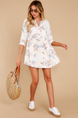 2 Paradise Awaits Ivory Tropical Print Dress at reddress.com