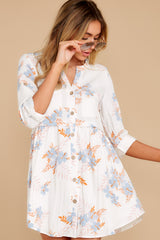 5 Paradise Awaits Ivory Tropical Print Dress at reddress.com