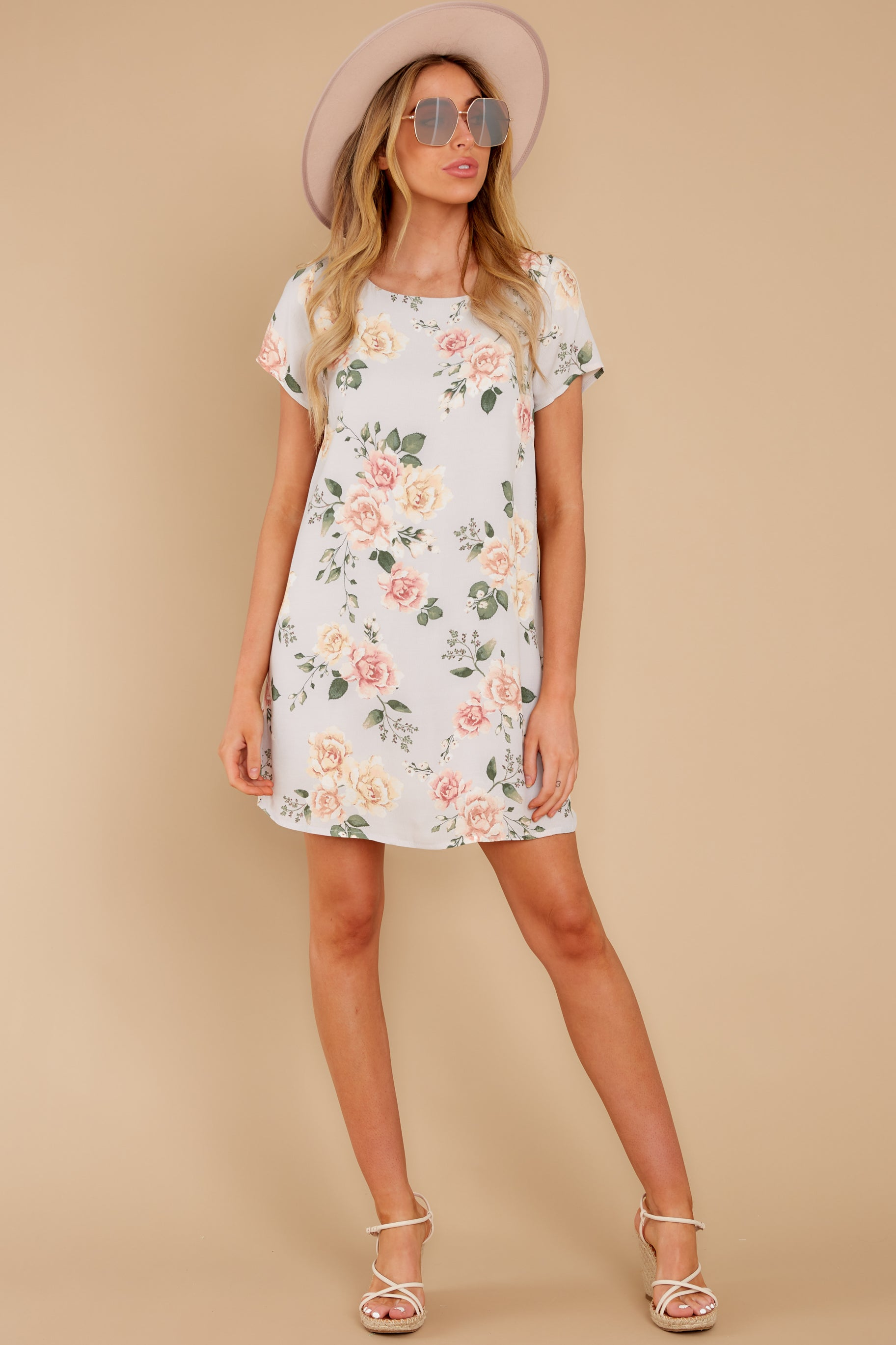 2 In The Rose Garden Lavender Floral Print Dress at reddress.com