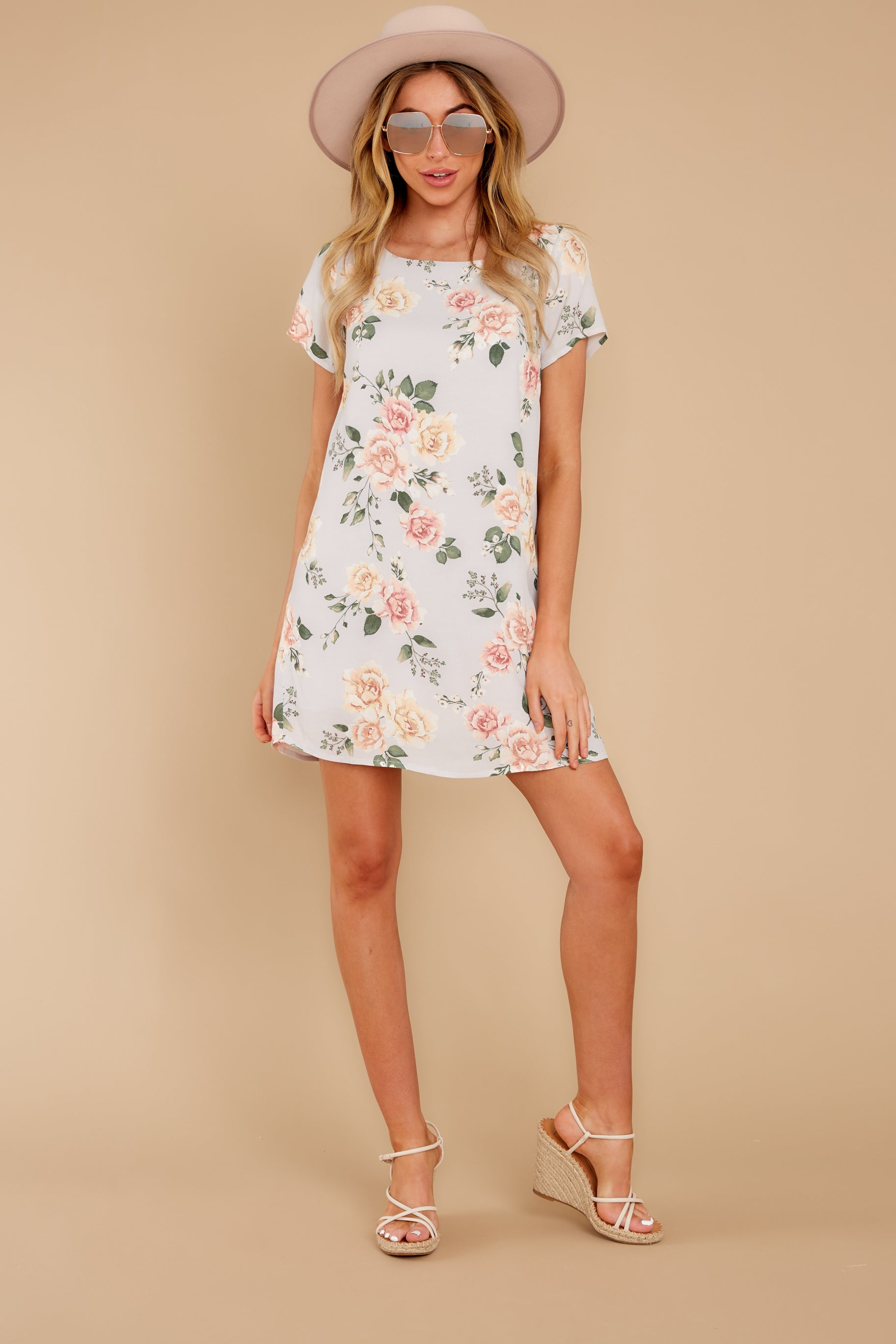 4 In The Rose Garden Lavender Floral Print Dress at reddress.com