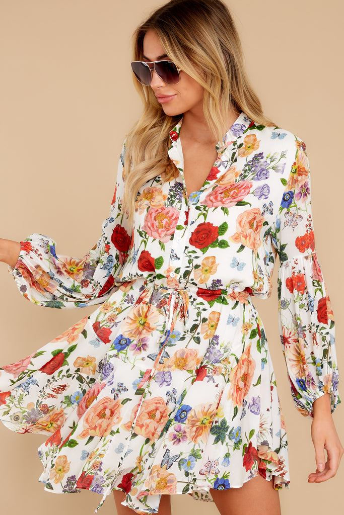 1 Paradise Awaits Ivory Tropical Print Dress at reddress.com