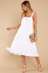3 Smile Awhile White Midi Dress at reddress.com