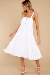 7 Smile Awhile White Midi Dress at reddress.com