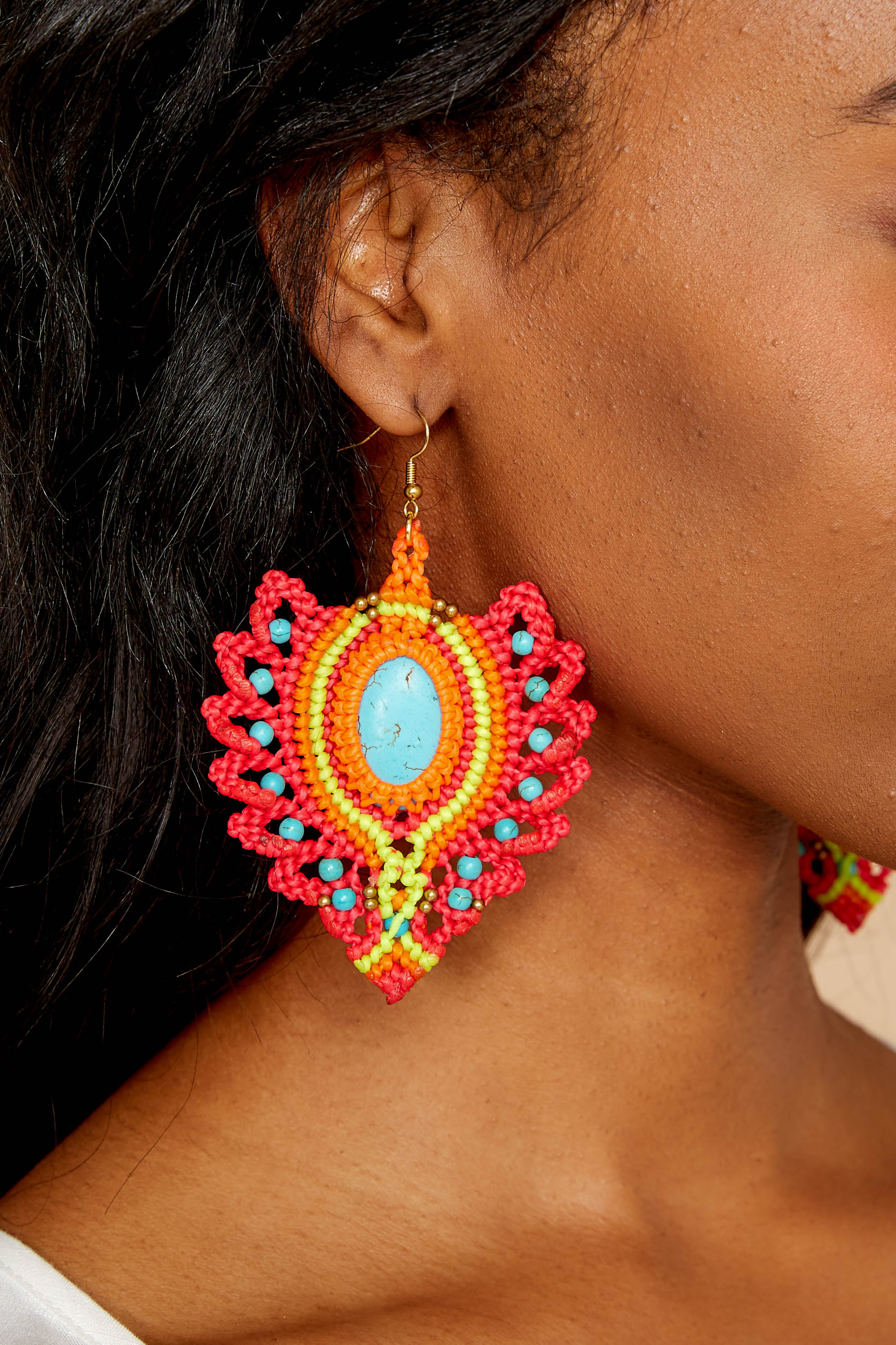 3 Phoenix Rising Hot Pink Multi Earrings at reddressboutique.com