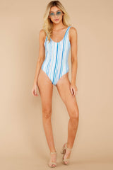 2 Feeling Salty Blue Multi Seaside Stripe One Piece at reddressboutique.com