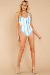 1 Feeling Salty Blue Multi Seaside Stripe One Piece at reddressboutique.com