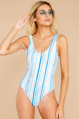 5 Feeling Salty Blue Multi Seaside Stripe One Piece at reddressboutique.com