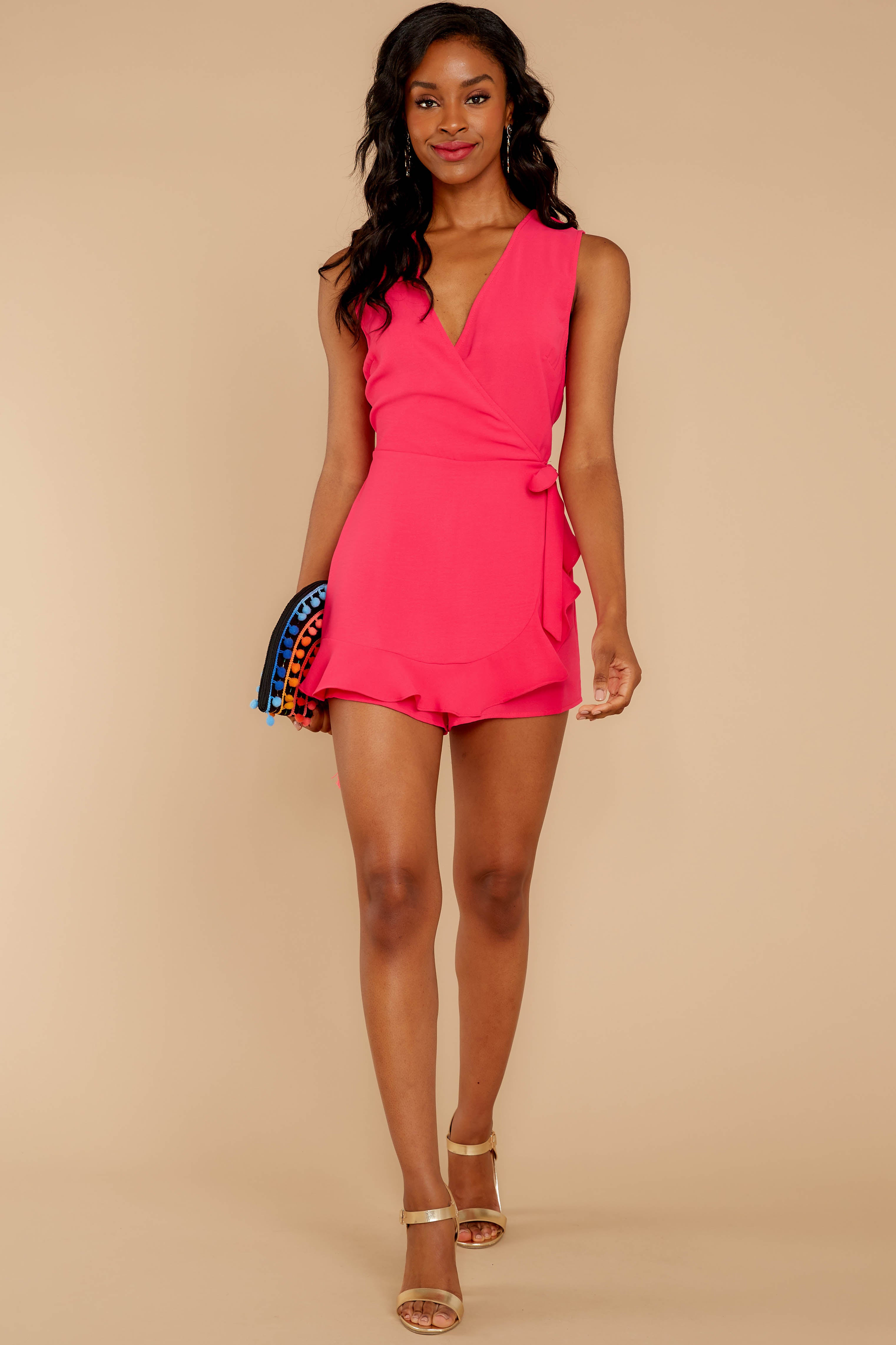 Worth Your While Fuchsia Pink Romper