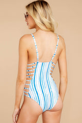 7 Kissed By Sunshine Blue Multi Seaside Stripe One Piece at reddress.com