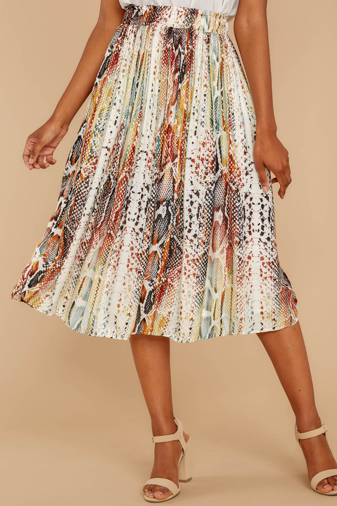 1 Gather Wildflowers Blue Floral Print Midi Skirt at reddressboutique.com