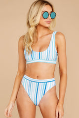 4 High Tide Blue Multi Seaside Stripe Bikini Bottoms at reddress.com