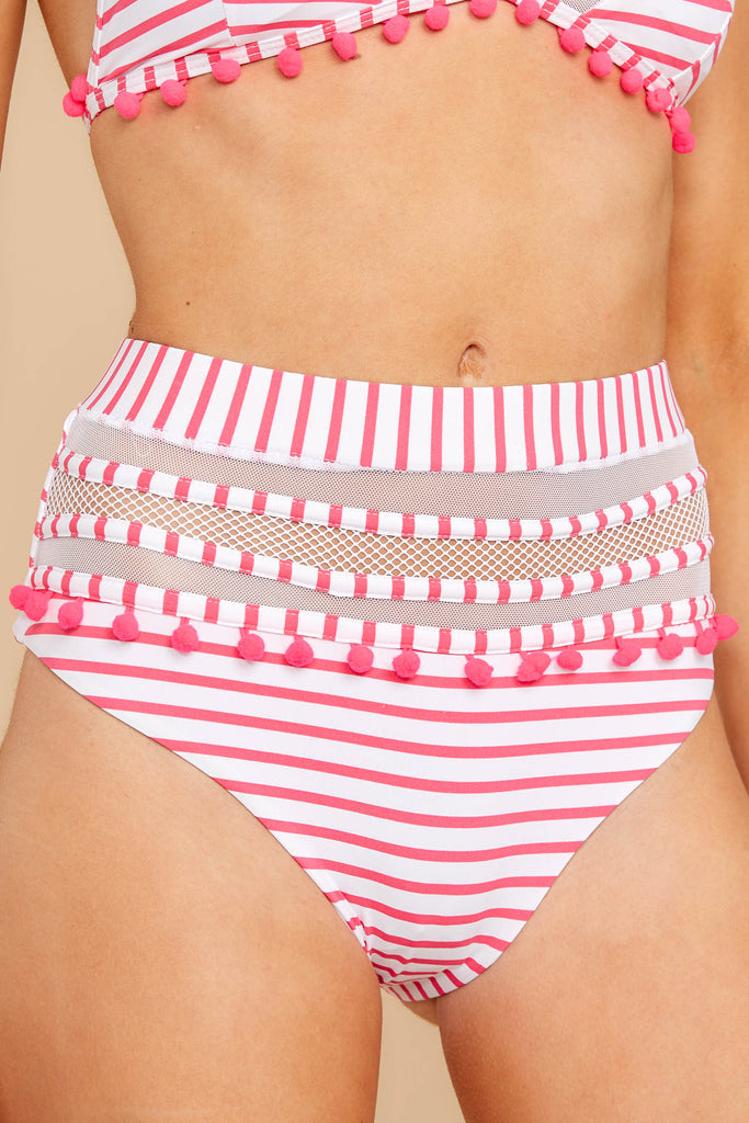 Ra Ra Rally Pink And White Stripe Bikini Top