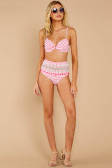 2 Keep Confident Pink And White Stripe Bikini Top at reddress.com