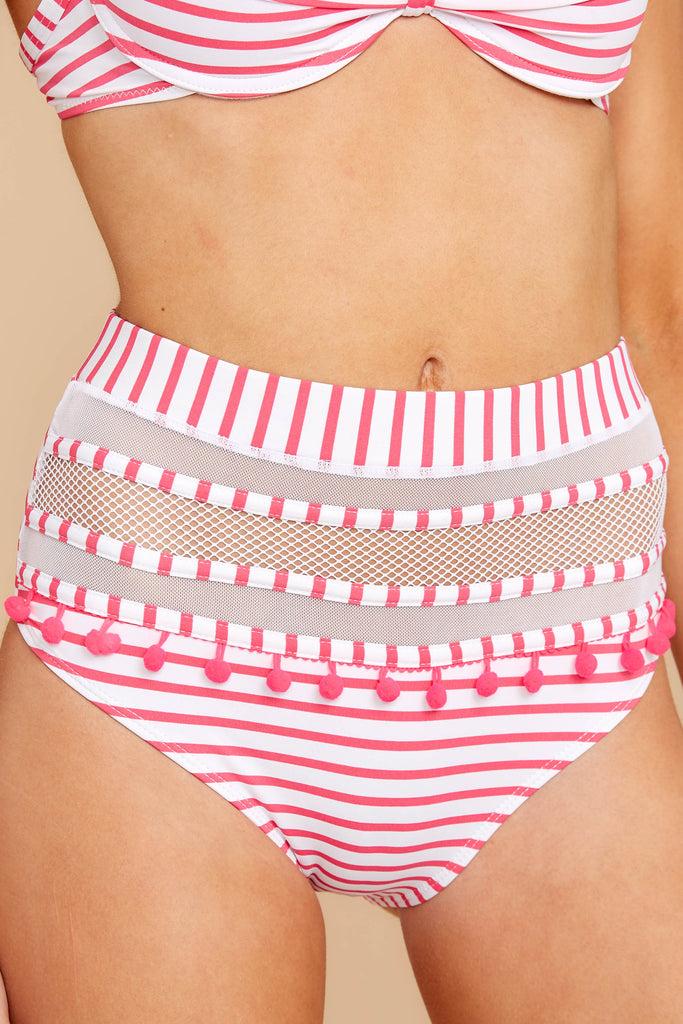 5 Keep Confident Pink And White Stripe Bikini Top at reddressboutique.com