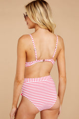 7 Keep Confident Pink And White Stripe Bikini Top at reddressboutique.com