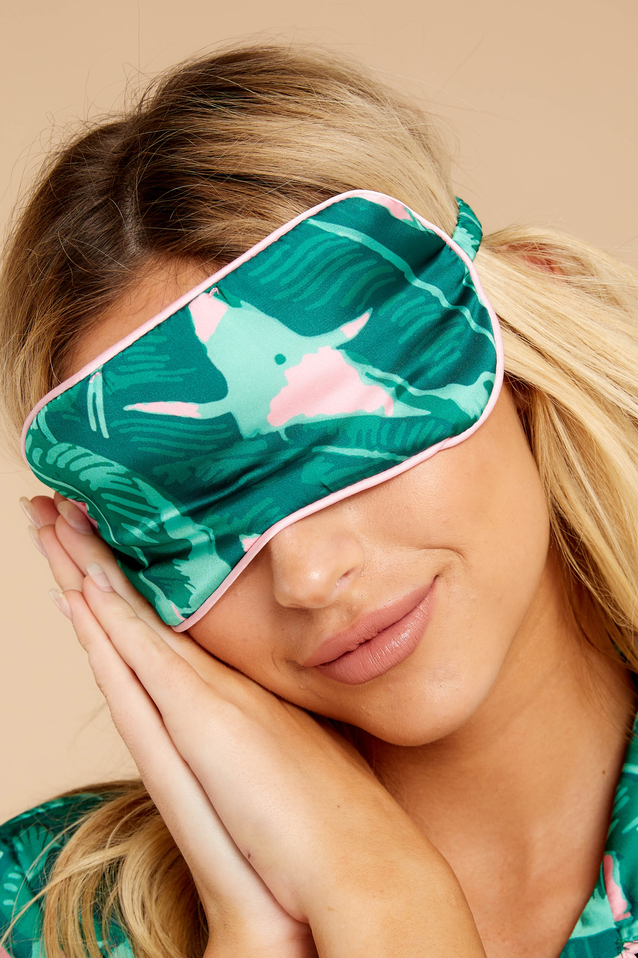 1 Woke Up Late Pink And Green Palm Print Eye Mask at reddressboutique.com