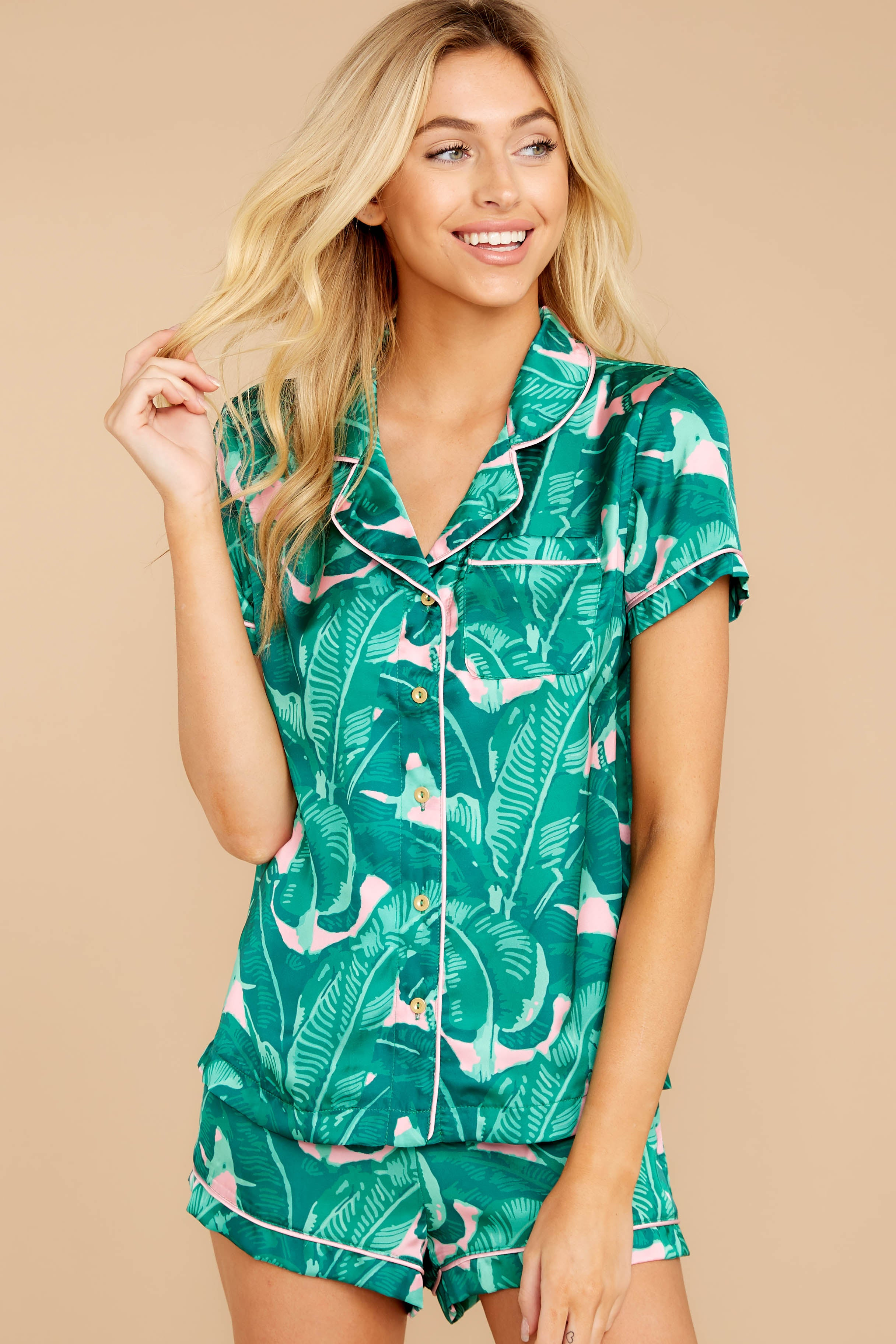 Essential Enthusiasm Pink And Green Palm Print Pajama Top