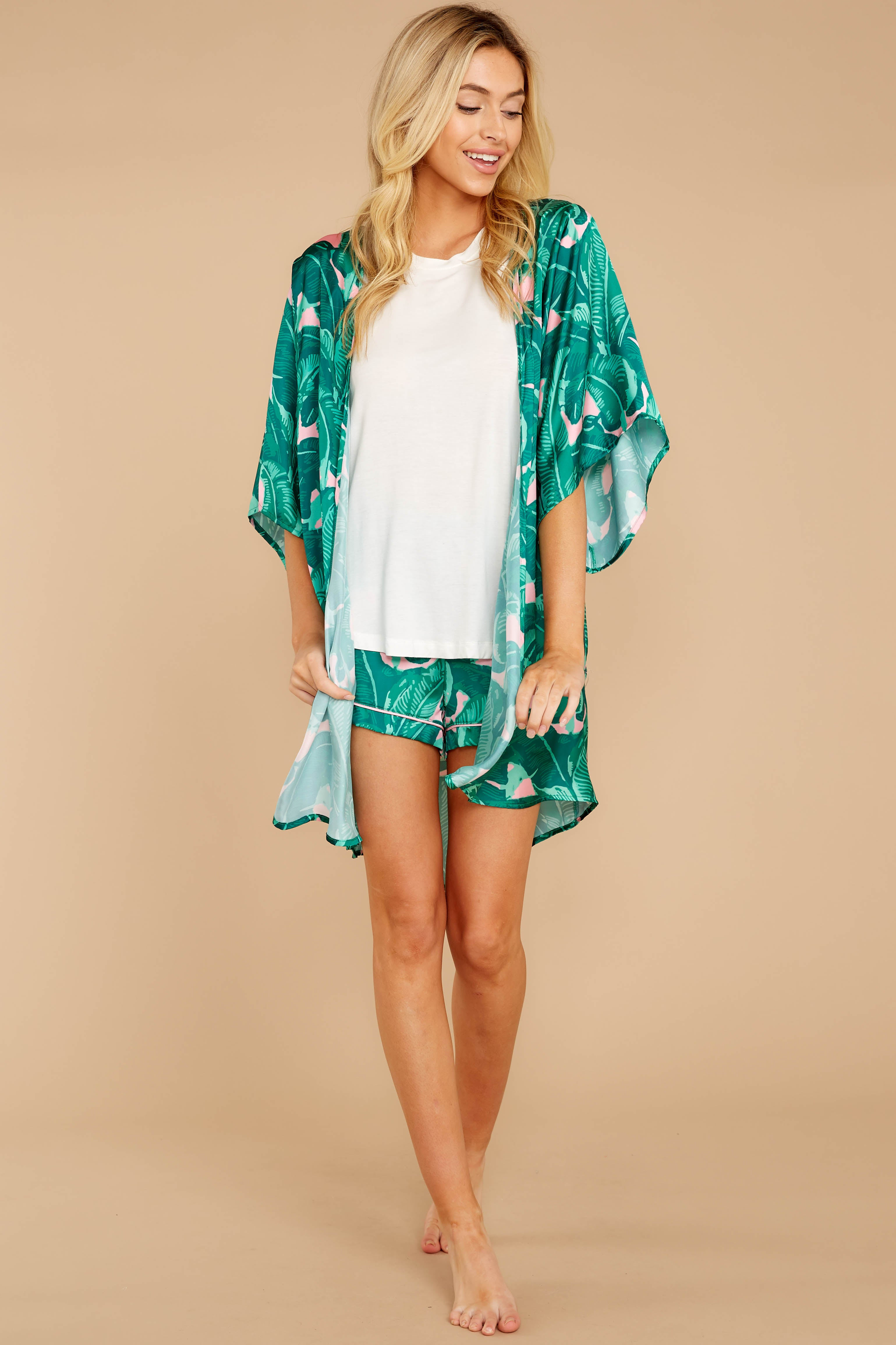 Night Lights Await Pink And Green Palm Print Robe